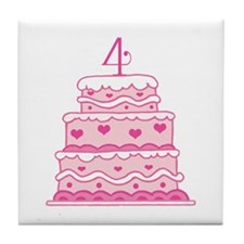 4th Anniversary Cake Tile Coaster