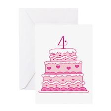 4th Anniversary Cake Greeting Card