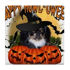 Happy Halloween Pekingnese Black.png Tile Coaster