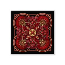 "Red Celtic Tapestry Square Sticker 3"" x 3"""
