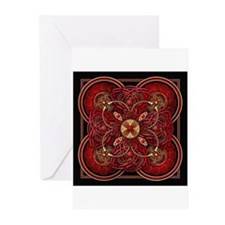 Red Celtic Tapestry Greeting Cards (Pk of 10)