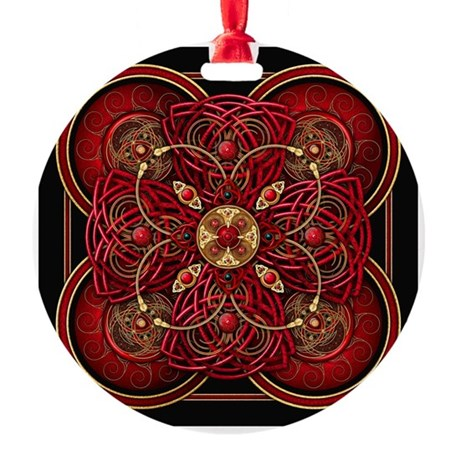 Red Celtic Tapestry Round Ornament