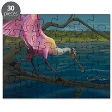 Swagger - Roseate Spoonbill Over Water Puzzle