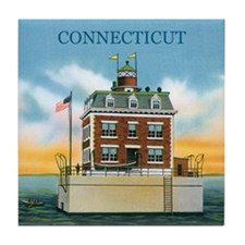 Connecticut New London Ledge Light Tile Coaster