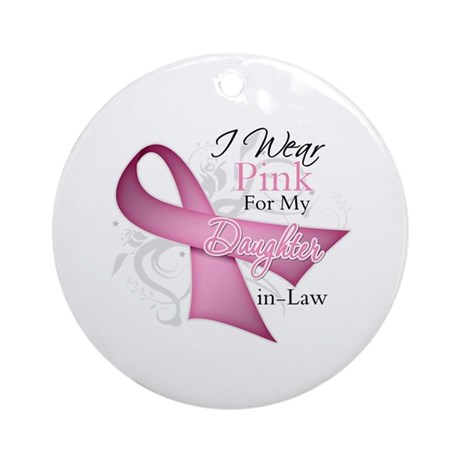 Daughter-in-Law Breast Cancer Ornament (Round)