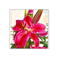 "Bright Red Lily Square Sticker 3"" x 3"""