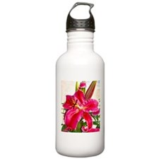 Bright Red Lily Water Bottle