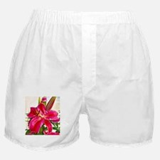 Bright Red Lily Boxer Shorts