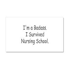 Badass Survives Nursing School Car Magnet 20 x 12