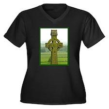 Celtic Cross Women's Plus Size V-Neck Dark T-Shirt