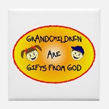 GRANDCHILDREN ARE GIFTS FROM GOD Tile Coaster