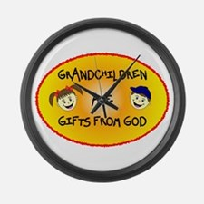 GRANDCHILDREN ARE GIFTS FROM GOD Large Wall Clock