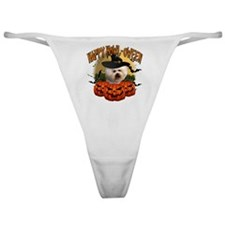Happy Halloween Bichon Frise.png Classic Thong