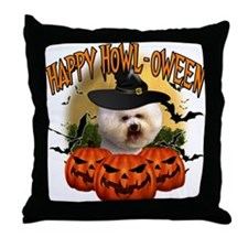 Happy Halloween Bichon Frise.png Throw Pillow