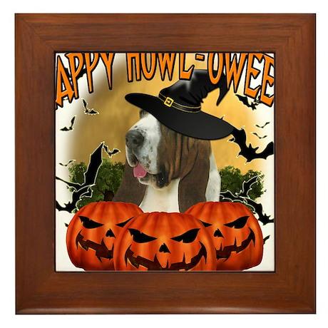 Happy Halloween Bassett Hound.png Framed Tile