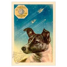 Laika the space dog postcard Framed Print