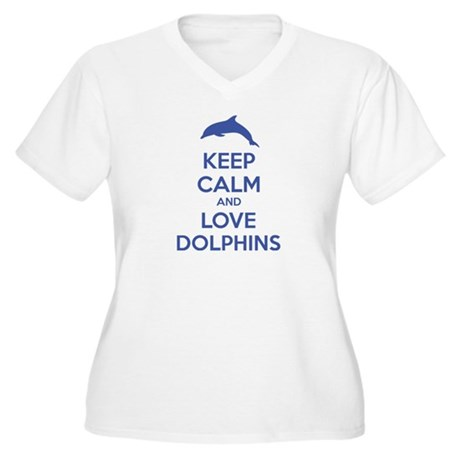 Keep calm and love dolphins Women's Plus Size V-Ne