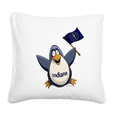 Indiana Penguin Square Canvas Pillow