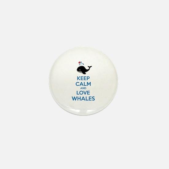 Keep calm and love whales Mini Button