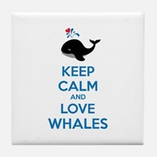 Keep calm and love whales Tile Coaster