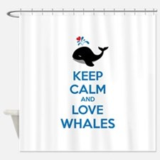Keep calm and love whales Shower Curtain