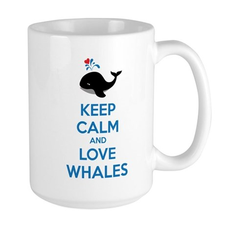 Keep calm and love whales Large Mug