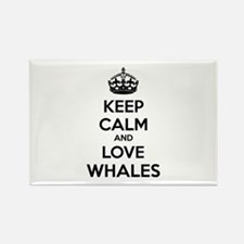 Keep calm and love whales Rectangle Magnet