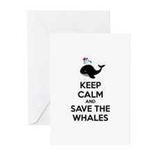 Keep calm and save the whales Greeting Cards (Pk o