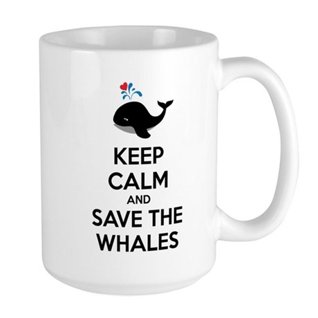 Keep calm and save the whales Large Mug