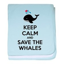 Keep calm and save the whales baby blanket