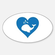 Love whale Sticker (Oval)