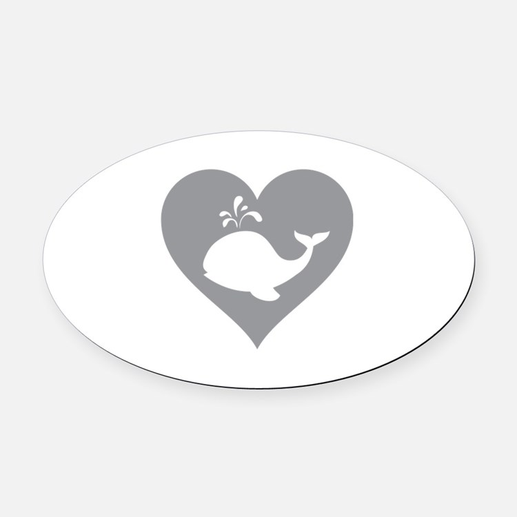 Love whale Oval Car Magnet