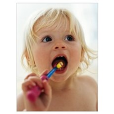 Baby girl brushing teeth Poster