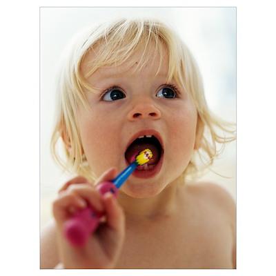 Baby girl brushing teeth Poster
