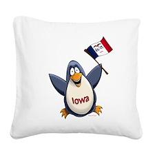 Iowa Penguin Square Canvas Pillow