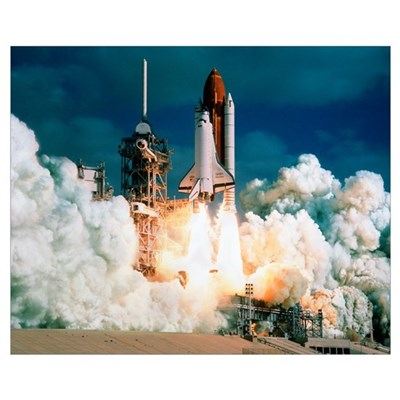 Space Shuttle launch Framed Print