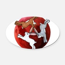 three hares Oval Car Magnet