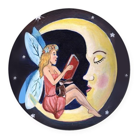 Bed Time Story Round Car Magnet