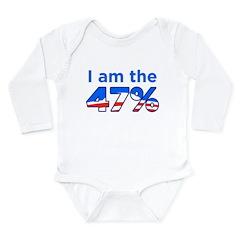 I am the 47% with Obama Logo Long Sleeve Infant Bo