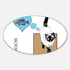 OYOOS Cat Fish Heart design Sticker (Oval)