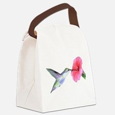 Hummingbird on hibiscus Canvas Lunch Bag