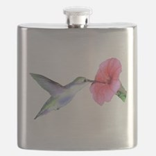 Hummingbird on hibiscus Flask