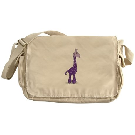 Purple giraffe Messenger Bag