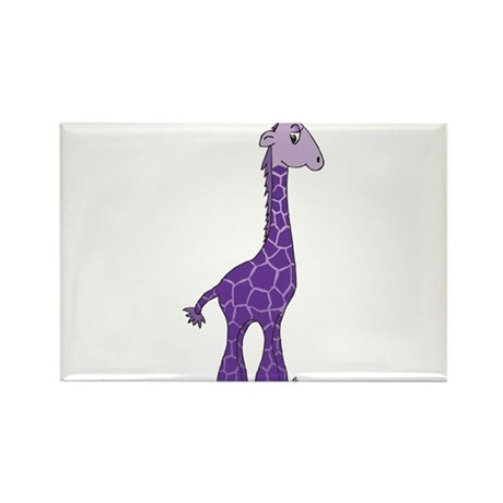 Purple giraffe Rectangle Magnet