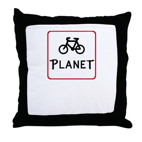 Bicycle Planet Throw Pillow
