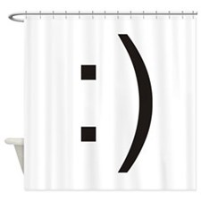 Text Smiley Face Shower Curtain