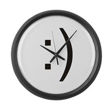 Text Smiley Face Large Wall Clock