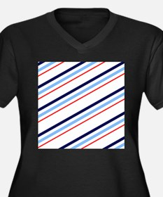 Blue and Red Nautical Stripes Women's Plus Size V-