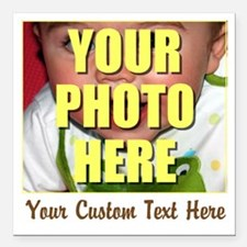 "Custom Photo and Text Square Car Magnet 3"" x 3"""