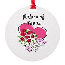 Matron of Honors Heart Bouquet Ornament